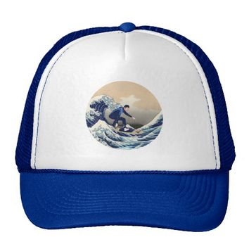 Funny Surfer Surfing On The Hokusai Great Wave Trucker Hat