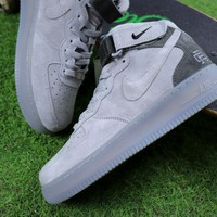 Best Online Sale Reigning Champ Nike Air Force 1 Mid Grey Suede Sport Shoes Sneaker
