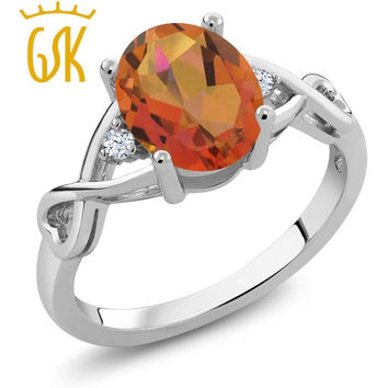 GEMSTONEKING 1.85 CT OVAL TWILIGHT ORANGE MYSTIC QUARTZ WHITE TOPAZ COCKTAIL RINGS SOLID 925 STERLING SILVER WOMEN'S RING