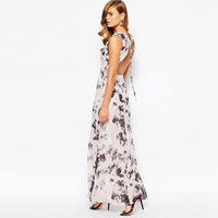 White Floral Print Cutout-Back Maxi Dress