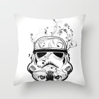 Flower Trooper Throw Pillow by Nicklas Gustafsson