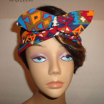 Dolly bow Wired headband tie pinup hair bow teen women IKAT TRIBAL fabric head band BOHO
