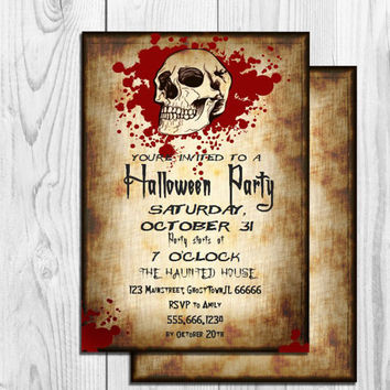 Adult Halloween Invitation Printable Bloody Skull Halloween Invitation Gothic Halloween Invite Double Sided Editable Invitation MS Word Doc