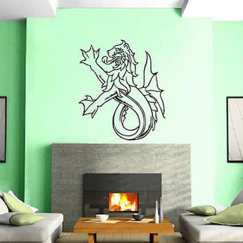 Heraldy Blazons Animal Middle Ages Lion With Fish Tail  Mural Vinyl Sticker z300