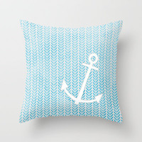 Anchor in Blue Throw Pillow by Brandy Coleman Ford