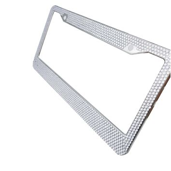 EEEKit 2 Packs Handmade Waterproof Aluminium Metal Chrome Swarovski Crystal Diamond Bling License Plate Frame