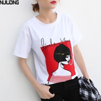 NIJIUDING  Design 13 Styles Women Casual White T Shirt Female Short Sleeve Top Tees Printed t-shirt Women S-XXL Size