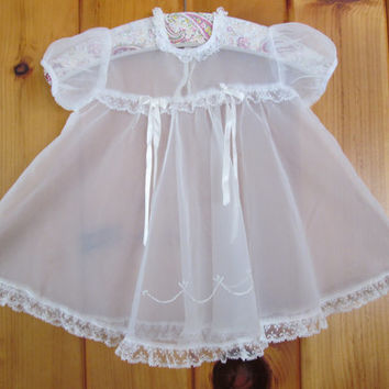 Baby Sheer Dress Girl Clothing Sz 12 mo. Sheer Lace Dress Vintage Baby Dress Baby Easter Dress Vintage Christening Dress