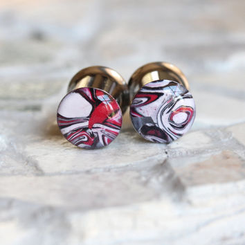 00g Plugs, 10mm Red Plugs, Red Ear Gauges, Clay Plugs, Double Flare, Stretched Ears - size 00g (10mm)