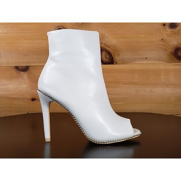 "Mac J White Silver Ball Stud Trim Open Toe 4"" High Heel Ankle Boot"