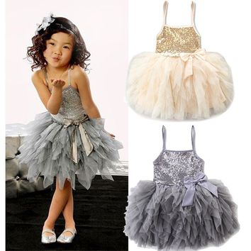 Kids Girls Lace Tulle Bowknot Tutu Princess Dress Wedding Pageant Party Dresses Grey Gold