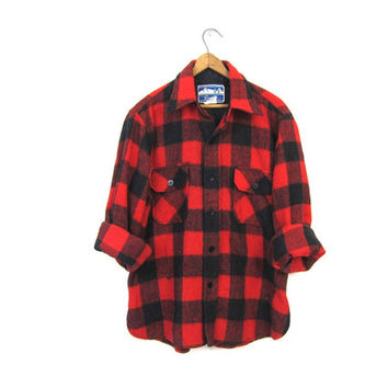 Buffalo Plaid Shirt 80s Wool Blend Flannel Red Black Lumberjack Jacket Button Up Long Sleeve 1980s Oversized Grunge Vintage Mens Medium