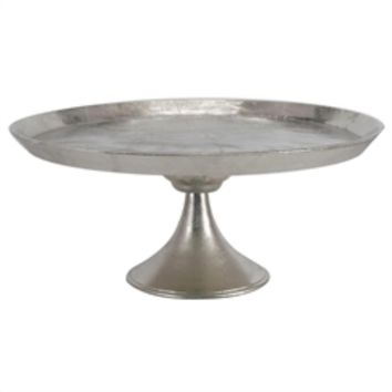 Aluminum Round Footed tray, Silver