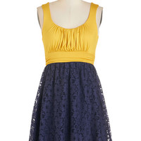 ModCloth Short Length Sleeveless A-line Artisan Iced Tea Dress in Lemon-Blueberry