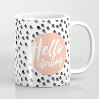 Hello Darling Spots - peach orange, black and white Mug by Allyson Johnson | Society6