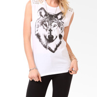Spiked Wolf Graphic Muscle Tee