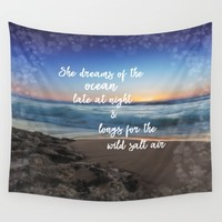 She Dreams of the Ocean Quote Wall Tapestry by Quote Life Shop