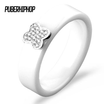 White Wedding Rings Classic Flower Design Famous Brand Ring Size 6 7 8 9 Ceramic Engagement Anel Feminino Wedding Ring Jewelry