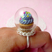 Glass Globe Bottle (24mm) with Silver Plated Lace Adjustable Ring (1 Set) Miniature Glass Dome Glass Bubble Filigree Ring F047