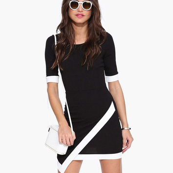Black Asymmetric Wrap Bodycon Dress with White Trim