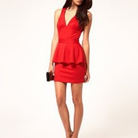ASOS Peplum Dress with Cut Out Back at asos.com
