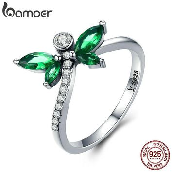 BAMOER New Collection 925 Sterling Silver Petite Dragonfly Finger Rings for Women Green CZ Wedding Engagement Jewelry SCR375