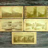 Antique Stereoview Cards, Set of 5, Alfred S Campbell, W M Chase Excelsior, Kilburn Brothers, Stereoscope 3D Photographs, Stereo View Cards
