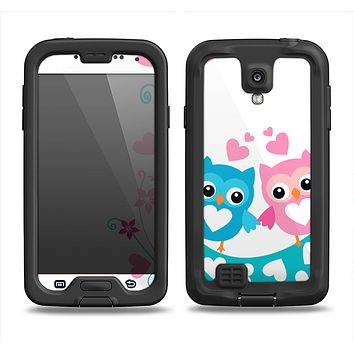 The Pink & Blue Vector Love Birds Samsung Galaxy S4 LifeProof Nuud Case Skin Set