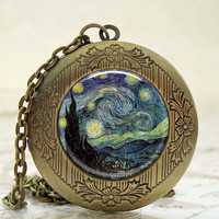 Locket - Antique Bronze Photo Art Locket - Van Gogh Starry Night Locket with Necklace and Matching Gift Tin