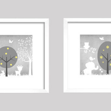 Gray Yellow White Enchanted Forest Animals, CUSTOMIZE YOUR COLORS, 8x10 Prints, set of 2, nursery decor nursery print art baby room decor