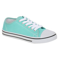 Brogan Canvas Lace Up Trainers in Mint Green