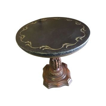 Pre-owned Carved Wood Pedestal Side Table with Marble Top