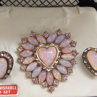 Vintage Dual Brooch or Pendant, Screw on Back Earrings Opalscent Pink And Gold Tone 1950s