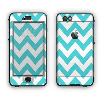 The Subtle Blue & White Chevron Pattern Apple iPhone 6 Plus LifeProof Nuud Case Skin Set