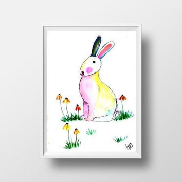 Bunny watercolor painting wall art print poster decor baby girl room decal print hare rabbit large small woodland nursery animal kid gift