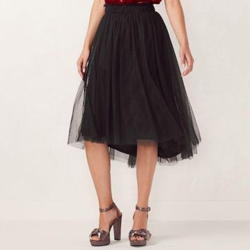 ESB7GX Women's LC Lauren Conrad Flocked Tulle Midi Skirt