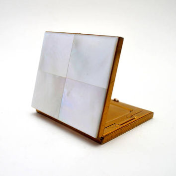Vintage Mother of Pearl Compact, 4 Tile MOP  Loose Powder Mirrored Compact, circa 1950s