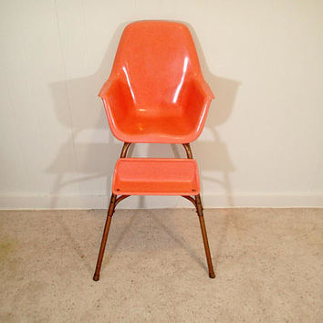 CAL-DAK Miller Style Fiberglass Shell High Chair, Salmon Orange, Vintage Mid Century Eames Era Bucket High Chair