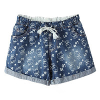 ROMWE Drawstring Pigs Print Pocketed Shorts