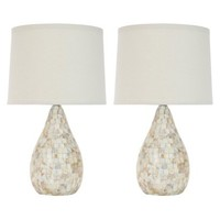 Mother Of Pearl Inlay Table Lamp with Black Shade (Set of 2)
