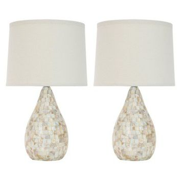 Best mother pearl table lamp products on wanelo mother of pearl inlay table lamp with black shade set of 2 aloadofball Images