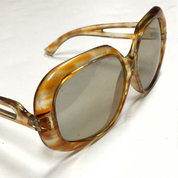 70s Lucite Oversized Sunglasses by Foster Grant | Designer Style Bugeye Lens Gold amber colored Frames Hippie Mod boho Sunnies 1970s 60s