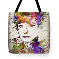 "Barbra Streisand in Color Tote Bag for Sale by Aged Pixel (18"" x 18"")"