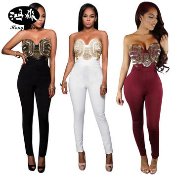 2017 new sleeveless sequin Rompers Womens Jumpsuit One Pieces Backless Bodysuits Combinaison Femme Black Sexy Bodycon Jumpsuits