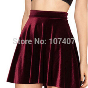 HOT SALE 2015 Women VELVET SKIRT saias SKATER SKIRT Pleated skirt High Waist Sexy saia Plus Size deep blue wine red black