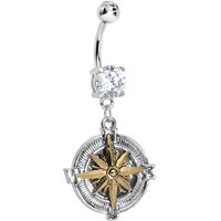 Clear Gem Silver Gold Nautical Compass Dangle Belly Ring | Body Candy Body Jewelry