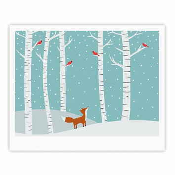"Cristina bianco Design ""Fox Cardinals Winter"" Blue Kids Fine Art Gallery Print"