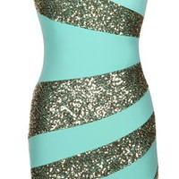 Holiday Swirl Dress | Mint Gold Strapless Sequin Party Dresses | Rickety Rack