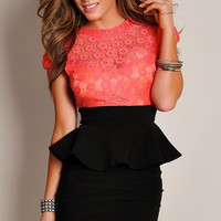 Sweetheart Neckline Floral Lace Overlay Black Peplum Dress with Cut-out Back