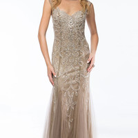 KC14116 Beige Cap Sleeve Evening Gown by Kari Chang Couture